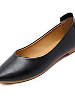 baratos -Mulheres Sapatos Confortáveis Couro Ecológico Outono Minimalismo Rasos Sem Salto Preto / Bege / Khaki