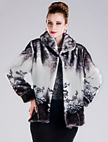 cheap -Long Sleeve Faux Fur Wedding / Party / Evening Women's Wrap With Pattern / Print / Color Block Coats / Jackets