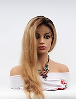 cheap -Remy Human Hair Full Lace Wig Brazilian Hair Straight Wig Asymmetrical Haircut 130% Women / Easy dressing / Sexy Lady Women's Very Long Human Hair Lace Wig