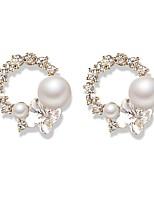 abordables -Mujer Elegante Pendientes colgantes - S925 Sterling Silver Blanco Para Boda / Cumpleaños