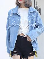 Недорогие -Жен. Джинсовая куртка Классический - Однотонный Бусины