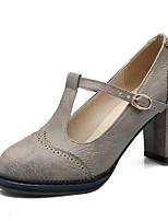 Недорогие -Жен. Комфортная обувь Полиуретан Весна Обувь на каблуках На толстом каблуке Черный / Серый / Желтый