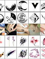 billiga -40 pcs tillfälliga tatueringar Totemserier / Djurserier Lena klistermärken / Säkerhet Body art Ansikte / Kropp / handled / Dekalstil tillfälliga tatueringar