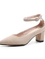Недорогие -Жен. Овчина Весна Туфли лодочки Обувь на каблуках На толстом каблуке Черный / Розовый / Миндальный