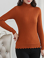 cheap -women's going out long sleeve pullover - solid colored turtleneck