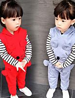 Недорогие -Дети Девочки Классический Однотонный / Мультипликация Длинный рукав Хлопок Набор одежды