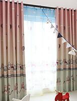 billiga -Barn Gardiner Matsalsrum Geometrisk / Tecknat Polyester Tryckt
