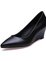 Недорогие -Жен. Наппа Leather Осень Туфли лодочки Обувь на каблуках Туфли на танкетке Черный