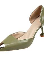 Недорогие -Жен. Балетки Полиуретан Весна лето Обувь на каблуках На каблуке-рюмочке Оксфорды Черный / Зеленый / Розовый