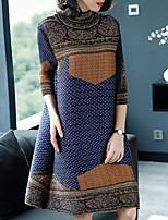 cheap -SHYSLILY Women's Basic / Elegant Sheath Dress - Polka Dot / Color Block / Plaid