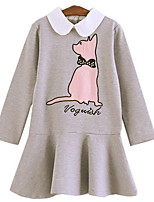 cheap -Kids Girls' Active Cat Solid Colored / Animal Ruffle Long Sleeve Above Knee Dress