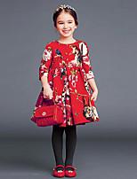baratos -Infantil / Bébé Para Meninas Floral Meia Manga Vestido