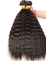 cheap -4 Bundles Brazilian Hair Yaki Straight Unprocessed Human Hair / Human Hair Gifts / Cosplay Suits / Natural Color Hair Weaves / Hair Bulk 8-28 inch Natural Color Human Hair Weaves New Arrival / Hot