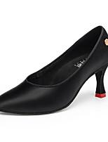 Недорогие -Жен. Обувь для латины Сатин На каблуках Пуговицы Толстая каблук Персонализируемая Танцевальная обувь Черный / Коричневый