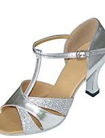 cheap -Women's Latin Shoes Satin Sandal / Heel Flared Heel Customizable Dance Shoes Black / Silver / Purple