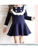 preiswerte -Kinder Mädchen Grundlegend Blau & Weiß Solide Rüsche / Patchwork Langarm Übers Knie Kleid / Baumwolle