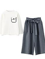 Недорогие -Дети Девочки Активный Однотонный Длинный рукав Хлопок Набор одежды