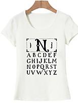 baratos -Mulheres Camiseta Básico Estampado, Letra