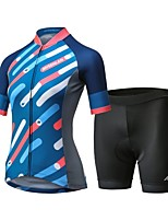 cheap -Mysenlan Women's Short Sleeve Cycling Jersey with Shorts Bike Clothing Suit, 3D Pad, Quick Dry, Breathable Polyester, Spandex Stripe