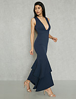 cheap -Women's Street chic / Sophisticated Bodycon / Sheath / Trumpet / Mermaid Dress - Solid Colored Backless / Layered / Ruffle
