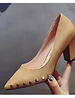 Недорогие -Жен. Обувь Полиуретан Весна & осень Удобная обувь / Туфли лодочки Обувь на каблуках На толстом каблуке Черный / Бежевый / Миндальный