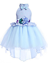 cheap -Kids Girls' Active / Sweet Holiday / Going out Blue Floral Bow / Mesh / Embroidered Sleeveless Asymmetrical Dress / Cotton / Layered