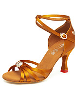 cheap -Women's Latin Shoes Satin Heel Cuban Heel Dance Shoes Black / Yellow / Brown