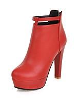 Недорогие -Жен. Fashion Boots Искусственная кожа Зима Английский Ботинки На толстом каблуке Круглый носок Ботинки Белый / Черный / Красный / Для вечеринки / ужина