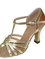 preiswerte -Damen Schuhe für den lateinamerikanischen Tanz Satin Sandalen / Absätze Keilabsatz Maßfertigung Tanzschuhe Gold / Silber