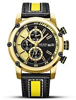 Недорогие -MEGIR Муж. Спортивные часы Японский Кварцевый 30 m Защита от влаги Календарь Новый дизайн Натуральная кожа Группа Аналоговый На каждый день Мода Черный - Серебряный Золотистый / Фосфоресцирующий