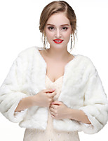 cheap -Long Sleeve Faux Fur Wedding / Party / Evening Women's Wrap With Solid Shrugs