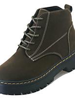 Недорогие -Жен. Полиуретан Осень Армейские ботинки Ботинки На низком каблуке Круглый носок Черный / Военно-зеленный / Розовый