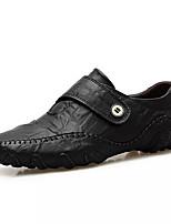 Недорогие -Муж. Наппа Leather / Кожа Осень Удобная обувь Мокасины и Свитер Черный / Коричневый