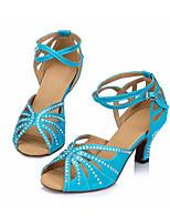 Недорогие -Жен. Обувь для латины Сатин На каблуках Тонкий высокий каблук Танцевальная обувь Синий