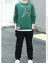 Недорогие -Дети Мальчики Классический Спорт Однотонный Длинный рукав Хлопок Набор одежды