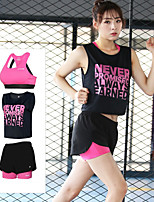 cheap -Women's Crew Neck Cross Back Tracksuit - Orange, Fuchsia, Green Sports Letter Shorts / Sports Bra / Tee / T-shirt Yoga, Running, Fitness Sleeveless Activewear 3D Pad, Quick Dry, Breathable