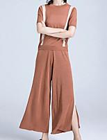 baratos -Mulheres Moda de Rua Suéter / Conjunto - Fenda / Perna larga, Sólido Calça