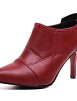 Недорогие -Жен. Ботильоны Полиуретан Осень Ботинки На шпильке Заостренный носок Черный / Винный