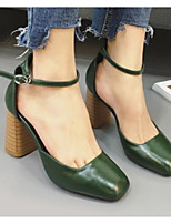 Недорогие -Жен. Комфортная обувь Полиуретан Весна & осень Обувь на каблуках На толстом каблуке Белый / Черный / Зеленый