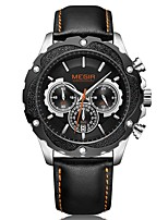 cheap -MEGIR Men's Sport Watch Dress Watch Japanese Quartz 30 m Water Resistant / Water Proof Calendar / date / day Chronograph Genuine Leather Band Analog Luxury Fashion Black - Black / Silver Black / Rose