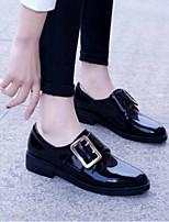 baratos -Mulheres Sapatos Confortáveis Pele Napa Primavera / Verão Saltos Salto Baixo Dedo Fechado Preto / Vinho
