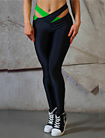 cheap -Women's Cut Out / Criss Cross Waist Yoga Pants - Green, Pink, Light Blue Sports Color Block Tights / Leggings Running, Fitness, Gym Activewear Quick Dry, Breathable, Compression Micro-elastic