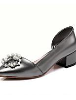 Недорогие -Жен. Обувь Наппа Leather Весна Удобная обувь Обувь на каблуках На толстом каблуке Белый / Черный / Серебряный