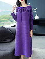 Недорогие -Жен. Классический / Элегантный стиль Прямое Платье - Однотонный Средней длины