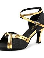 Недорогие -Жен. Обувь для латины Искусственная кожа Сандалии Кубинский каблук Танцевальная обувь Черный и золотой