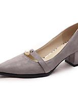 Недорогие -Жен. Комфортная обувь Замша Весна Обувь на каблуках На толстом каблуке Черный / Серый / Синий