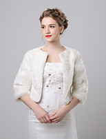 cheap -3/4 Length Sleeve Faux Fur Wedding / Party / Evening Women's Wrap With Patterned Shrugs