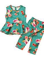 Недорогие -Дети Девочки Цветочный принт Без рукавов Набор одежды