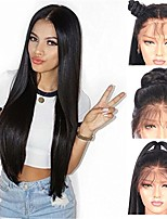 cheap -Remy Human Hair Lace Front Wig Brazilian Hair Straight Wig Asymmetrical Haircut 130% / 150% / 180% Women / Easy dressing / Sexy Lady Black Women's Very Long Human Hair Lace Wig