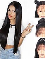 Недорогие -Remy Лента спереди Wig Бразильские волосы Прямой Парик Ассиметричная стрижка 130% / 150% / 180% Женский / Легко туалетный / Sexy Lady Черный Жен. Очень длинный